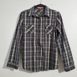 and... Black Striped Button Down Shortsleeve Shirt Size M